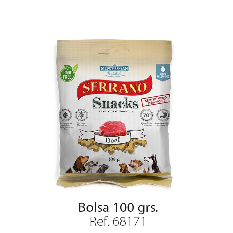 Serrano Snacks de Mediterranean Natural buey bolsa 100 gramos