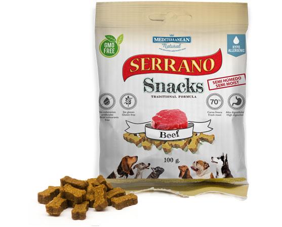 Serrano Snacks de Mediterranean Natural bolsita buey-beef
