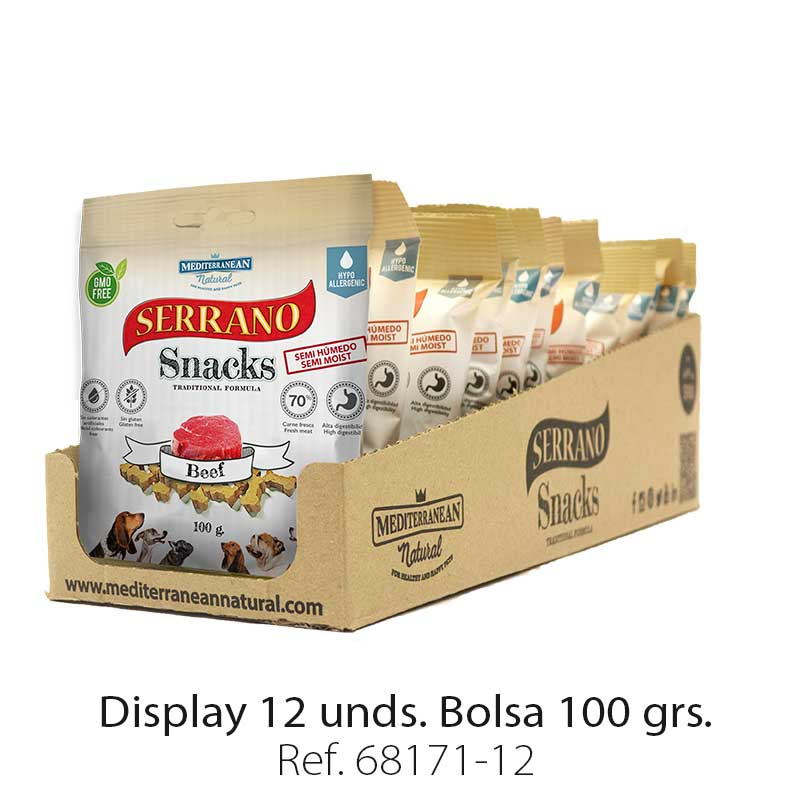 Serrano Snacks de Mediterranean Natural buey display 12 unidades