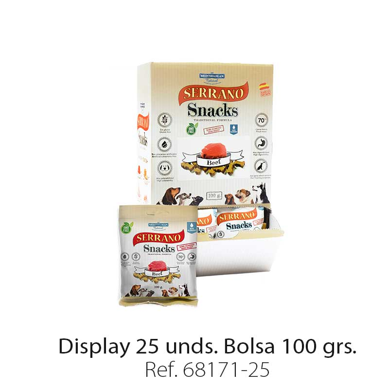 Serrano Snacks de Mediterranean Natural buey display 25 unidades