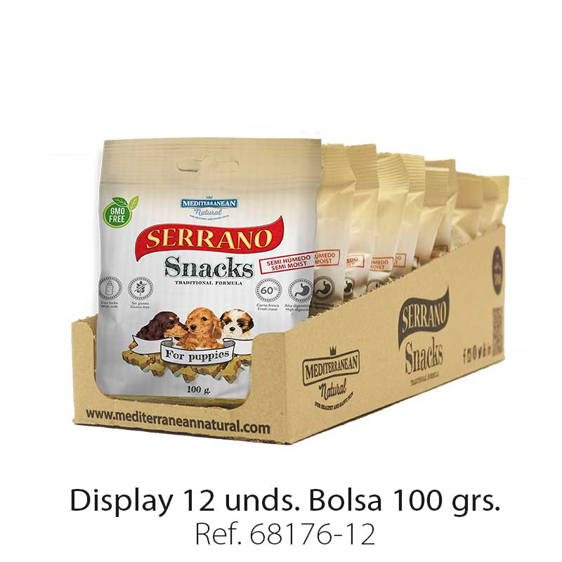 Serrano Snacks de Mediterranean Natural para cachorros display 12 unidades