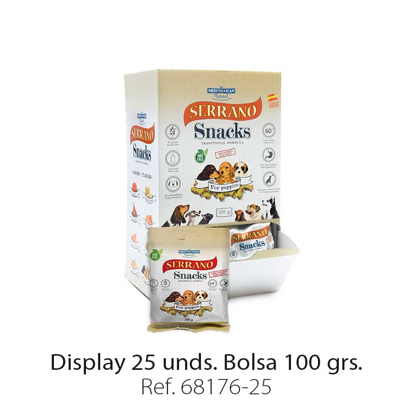 Serrano Snacks de Mediterranean Natural para cachorros display 25 unidades