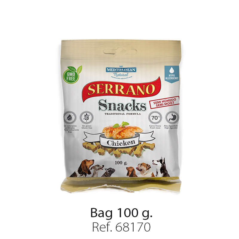Serrano Snacks of Mediterranean Natural chicken bag 100 gr