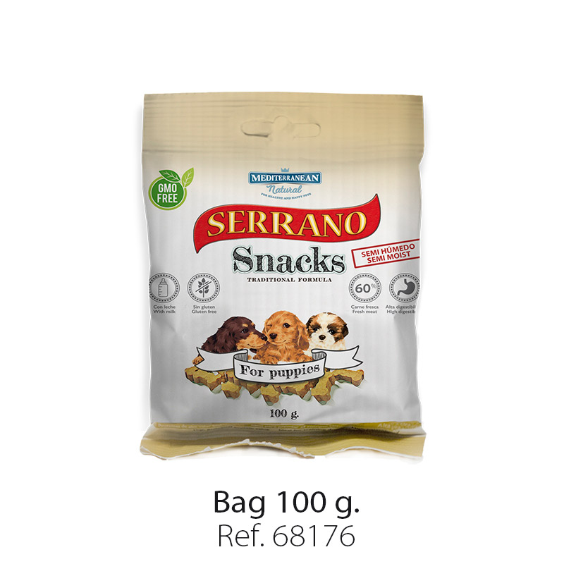 Serrano Snacks of Mediterranean Natural for puppies bag 100 gr