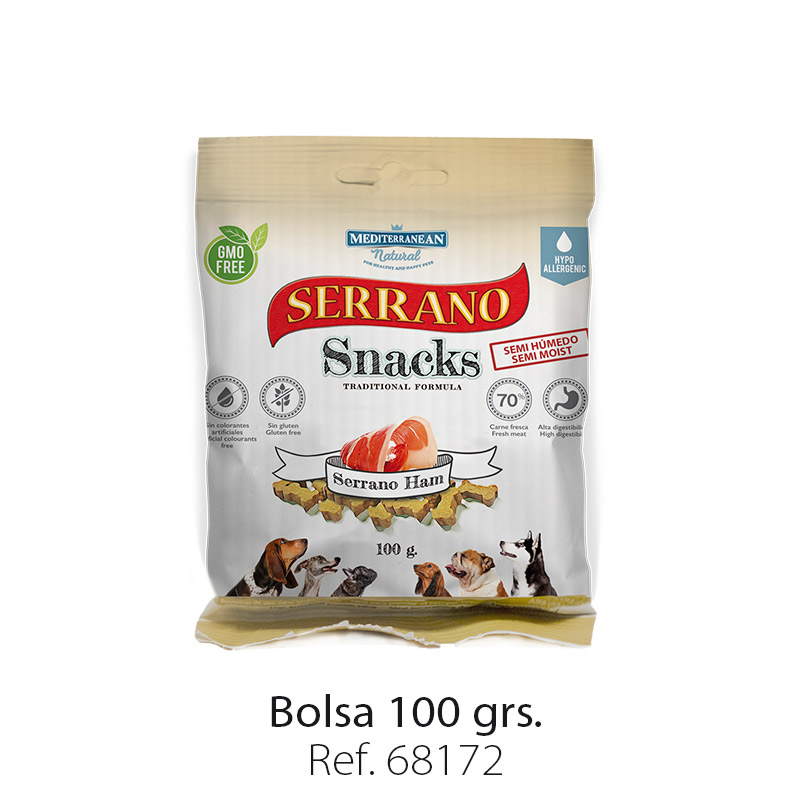 Serrano Snacks de Mediterranean Natural jamón serrano bolsa 100 gramos
