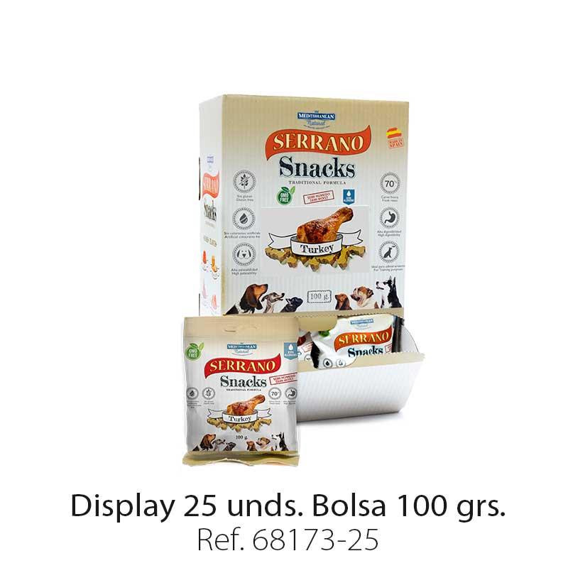 Serrano Snacks de Mediterranean Natural pavo display de 25 unidades