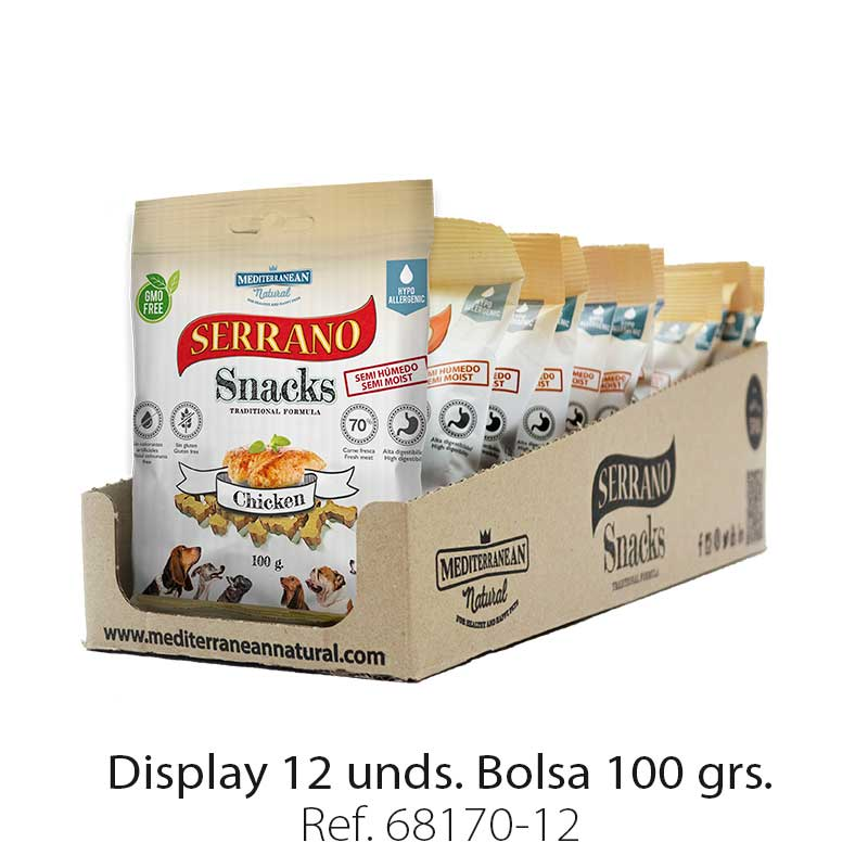 Serrano Snacks de Mediterranean Natural pollo display de 12 unidades