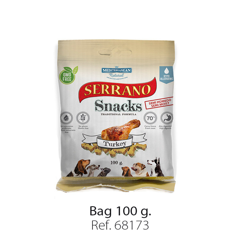 Serrano Snacks of Mediterranean Natural turkey bag 100 gr