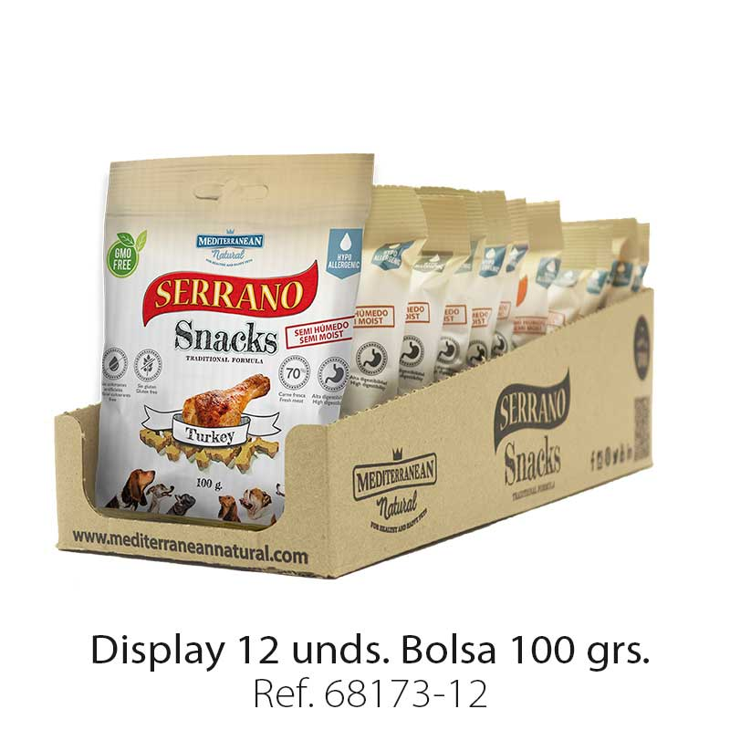 Serrano Snacks de Mediterranean Natural pavo display de 12 unidades