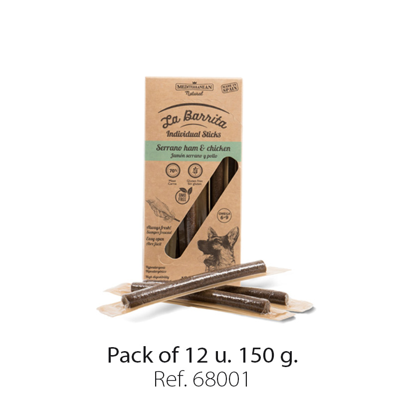 La barrita of Mediterranean Natural. Dog treats. Semi moist sticks