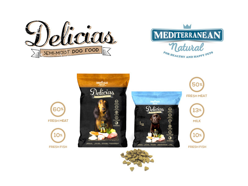 Delicias semi moist dog food with fresh meat and fish