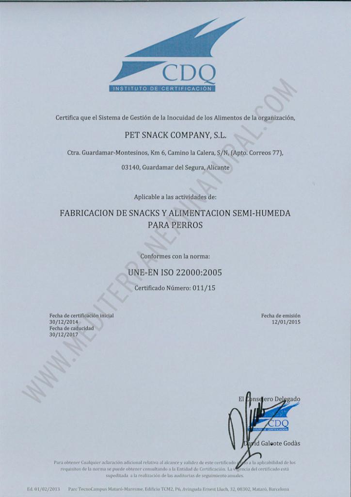 Mediterranean Natural certificada con la ISO 22000/2005 de calidad alimentaria