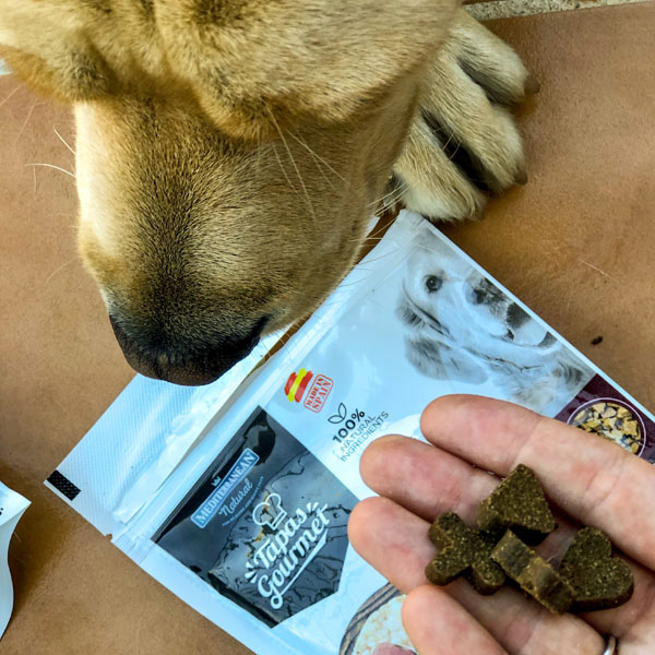 Una Familia con Perro y Tapas Gourmet de Mediterranean Natural