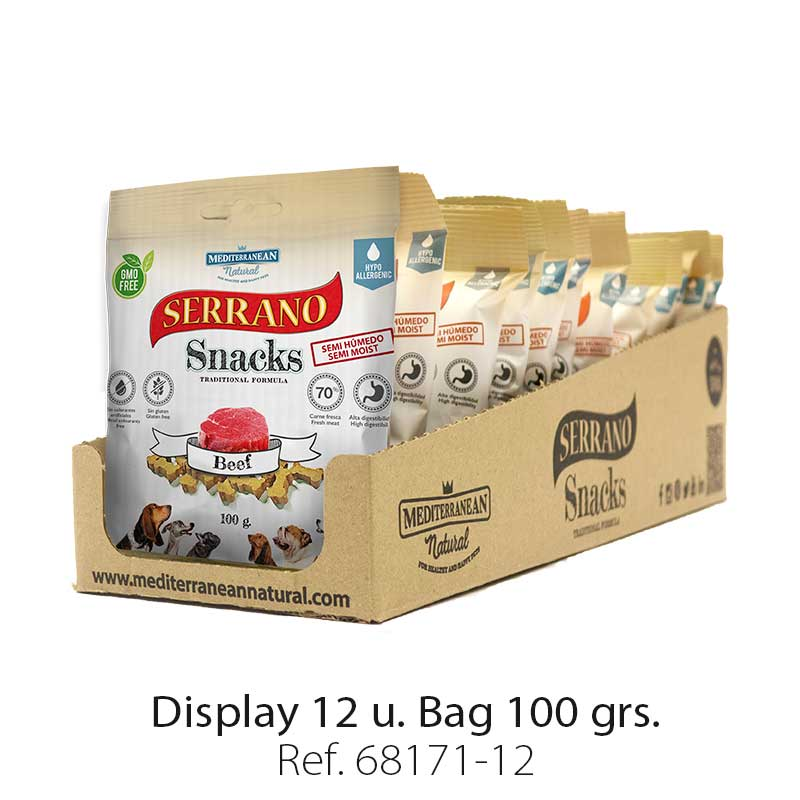 Serrano Snacks of Mediterranean Natural for beef flavor. Display 12 units