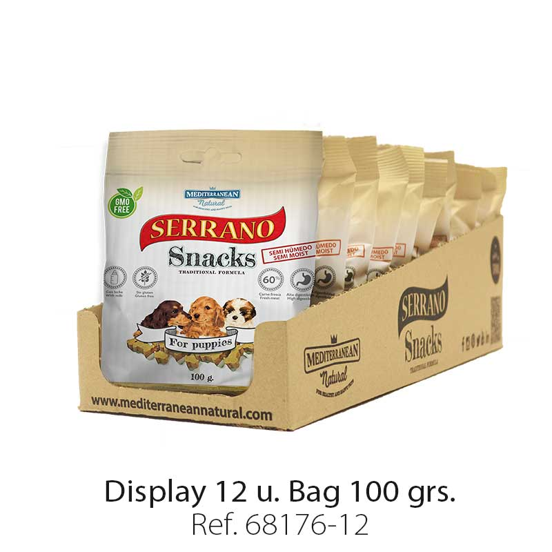 Serrano Snacks of Mediterranean Natural for puppies flavor. Display 12 units