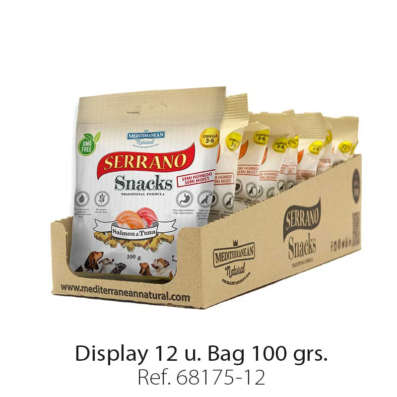 Serrano Snacks of Mediterranean Natural salmon and tuna fish flavor. Display 12 units