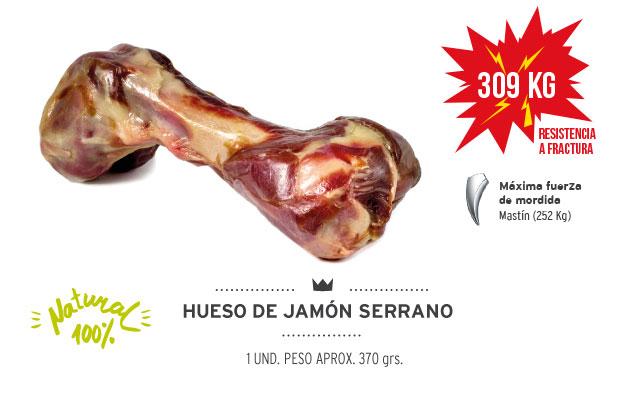 Hueso de jamón serrano Mediterranean Natural para perros. Resistencia a la fractura
