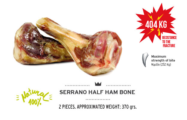 Serrano half ham bone of Mediterranean Natural for dogs. Resistance fracture