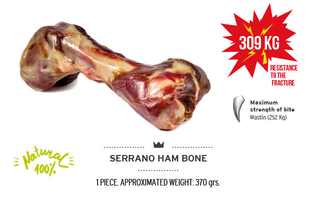 Serrano ham bone of Mediterranean Natural for dogs. Resistance fracture