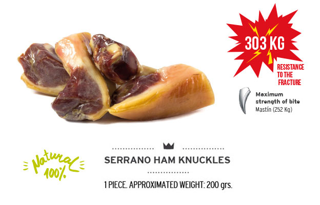 Serrano ham knuckles of Mediterranean Natural for dogs. Resistance fracture