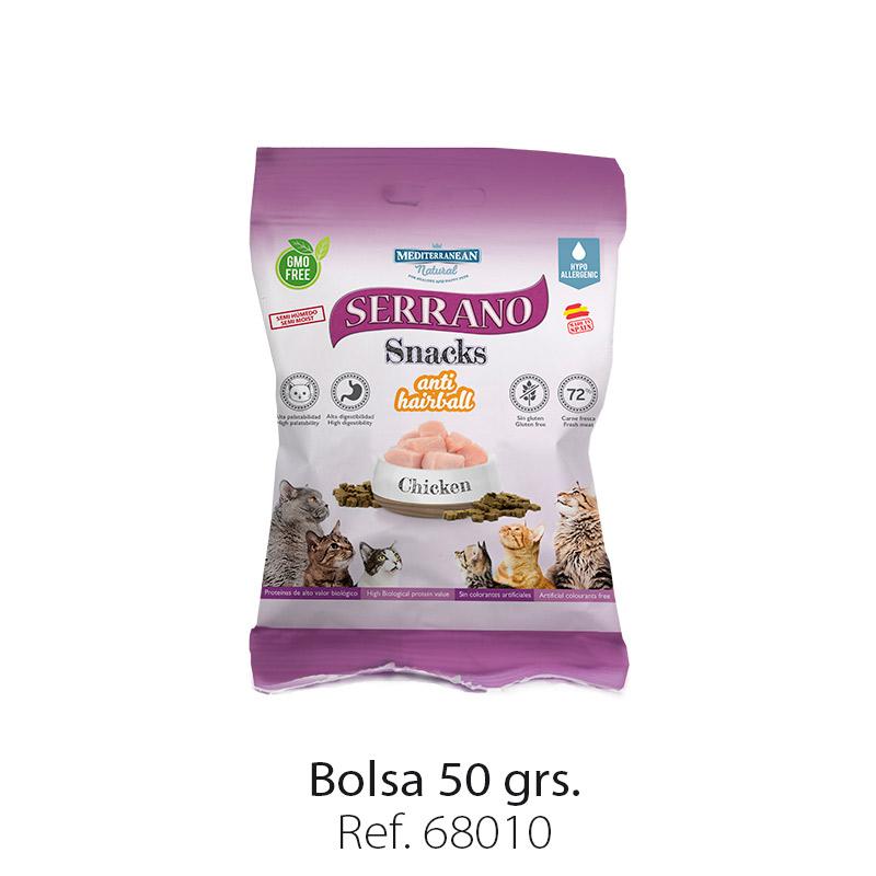 Serrano Snacks para gatos de Mediterranean Natural: premios anti bolas de pelo con pollo