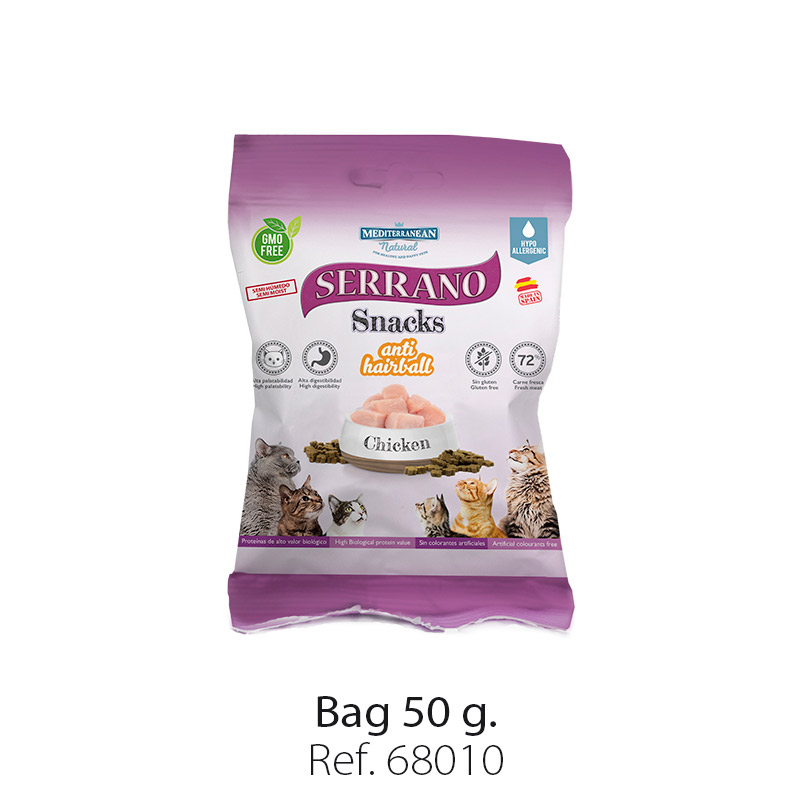 Serrano Snacks for cats of Mediterranean Natural antihairball chicken