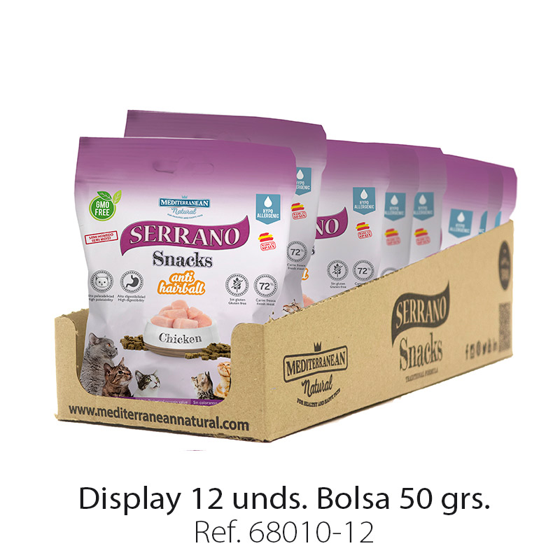 Display 12 bolsas Serrano Snacks para gatos de Mediterranean Natural: premios anti bolas de pelo con pollo