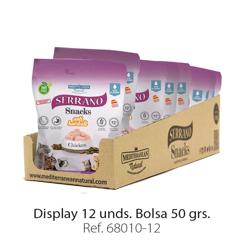 Display 12 bolsas Serrano Snacks para gatos de Mediterranean Natural: premios anti bolas de pelo con pollo