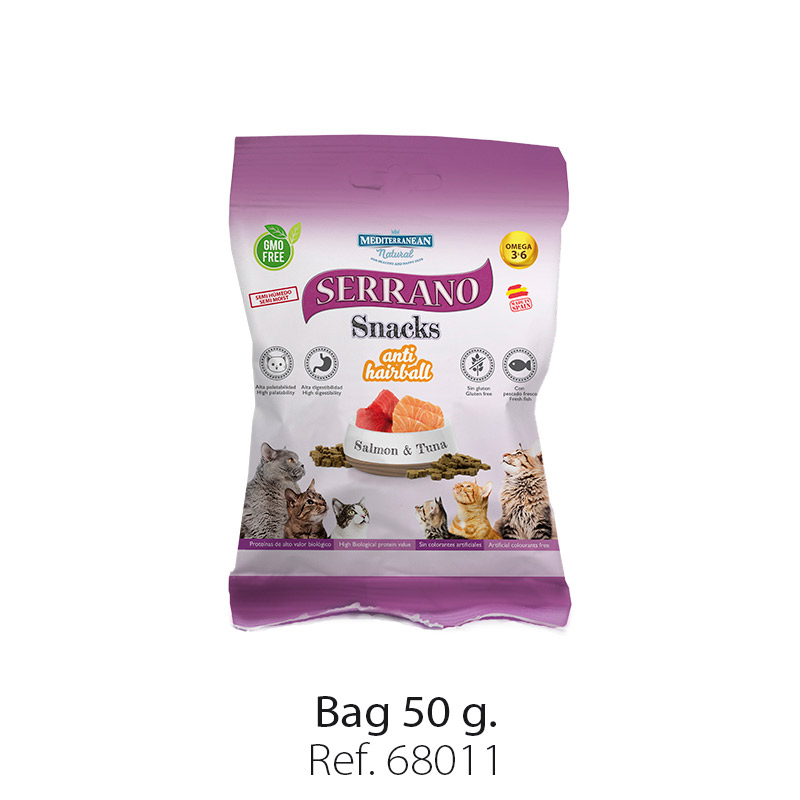 Serrano Snacks for cats of Mediterranean Natural antihairball salmon and tuna