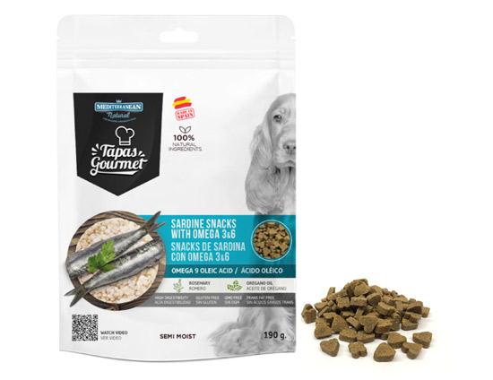 Snacks de Mediterranean Natural para perros semi húmedos de sardina