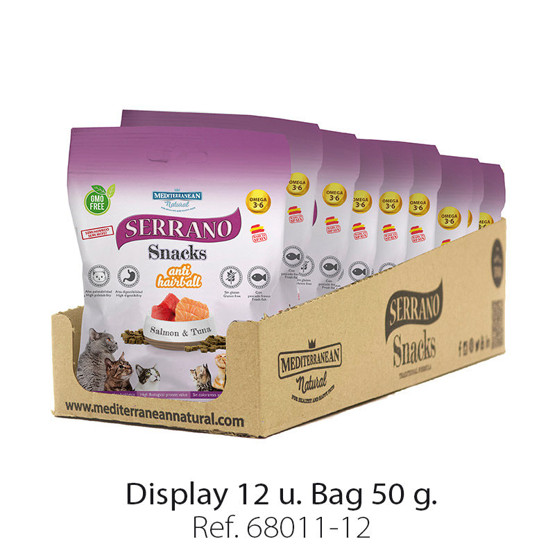 Serrano Snacks for cats of salmon and tuna Mediterranean Natural: Display 12 bags