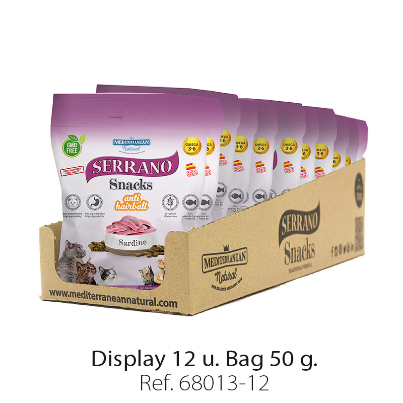Serrano Snacks for cats of sardine Mediterranean Natural: Display 12 bags