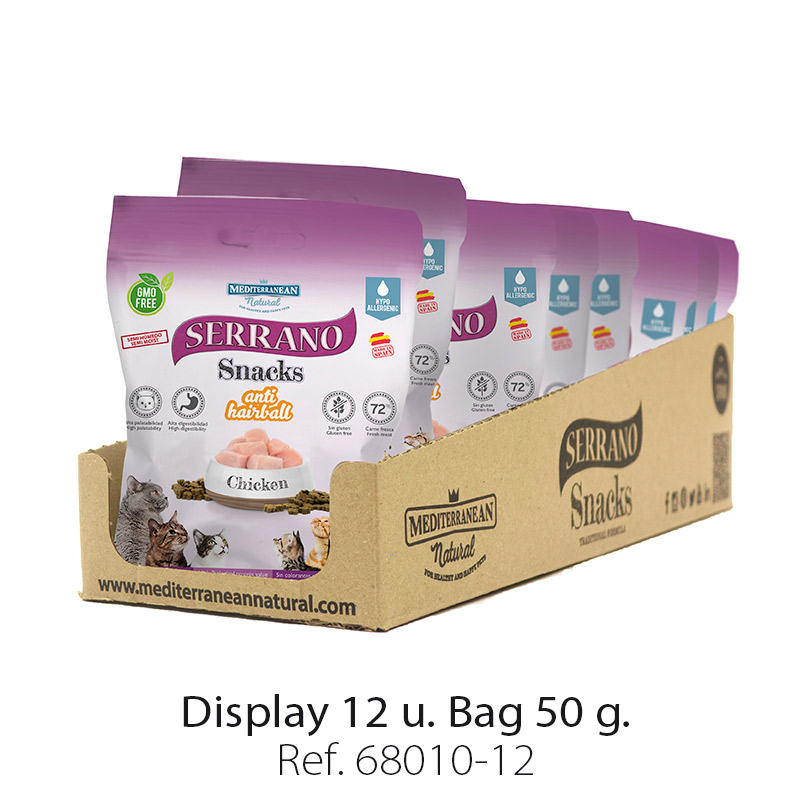 Display 12 bags Serrano Snacks for cats of Mediterranean Natural antihairball chicken