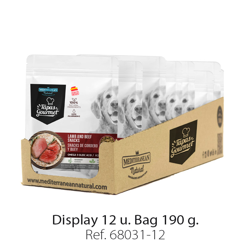 Display 12 bags Tapas Gourmet Mediterranean Natural for dogs lamb and beef