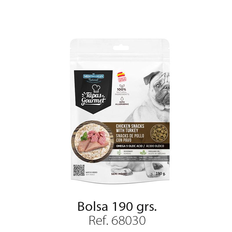 Tapas Gourmet de Mediterranean Natural para perros pollo y pavo
