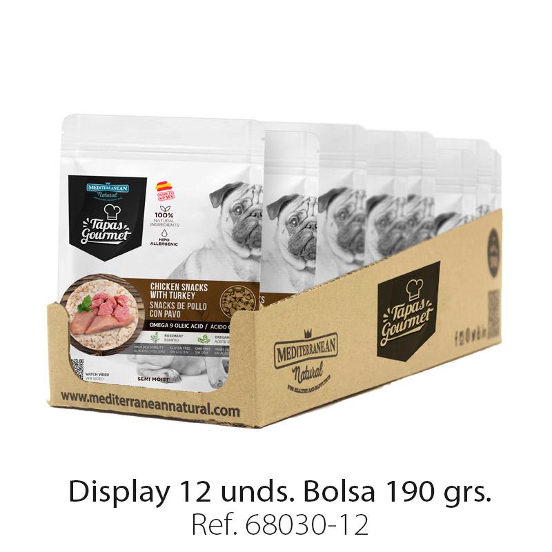 Display 12 bolsas de Tapas Gourmet de Mediterranean Natural para perros pollo y pavo