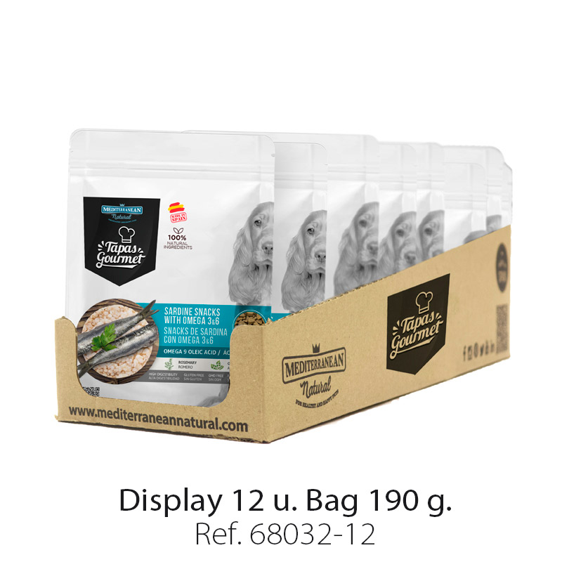 Display 12 bags Tapas Gourmet Mediterranean Natural for dogs sardine