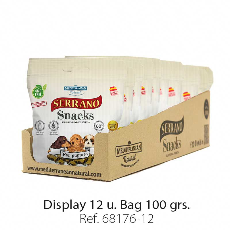 Display 12 bags Serrano Snacks Mediterranean Natural for puppies