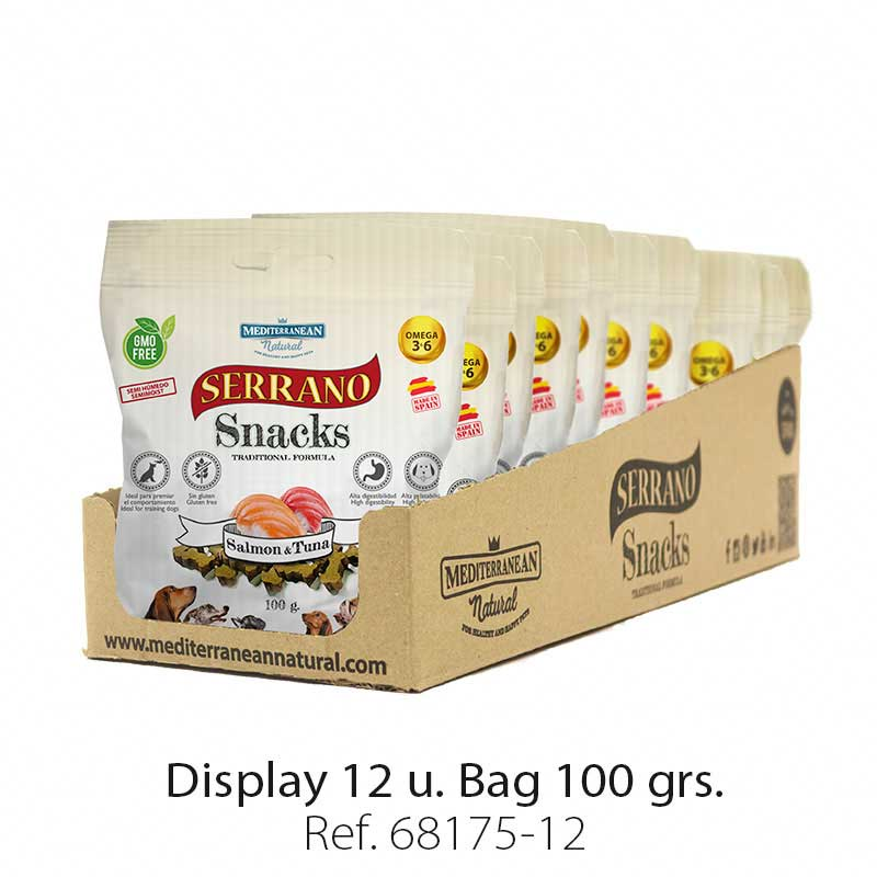 Display 12 bags Serrano Snacks salmon and tuna Mediterranean Natural for dogs