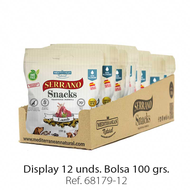 Display 12 bolsas Serrano Snacks cordero para perros Mediterranean Natural