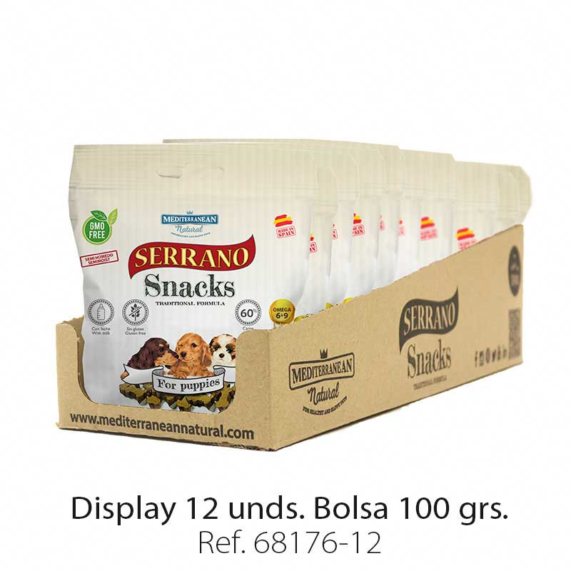 Display 12 bolsas Serrano Snacks para cachorros Mediterranean Natural