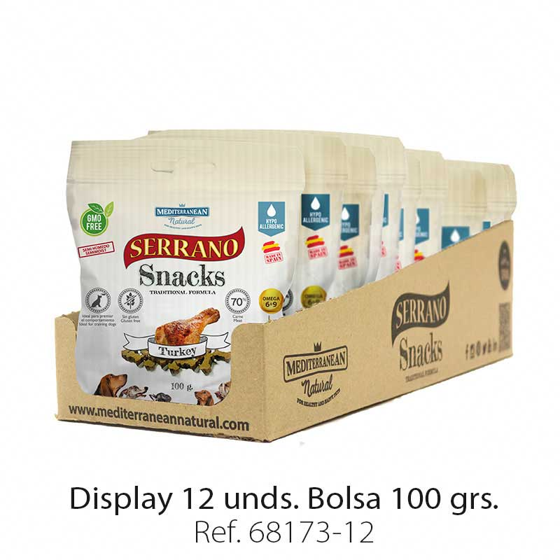 Display 12 bolsas Serrano Snacks pavo para perros Mediterranean Natural