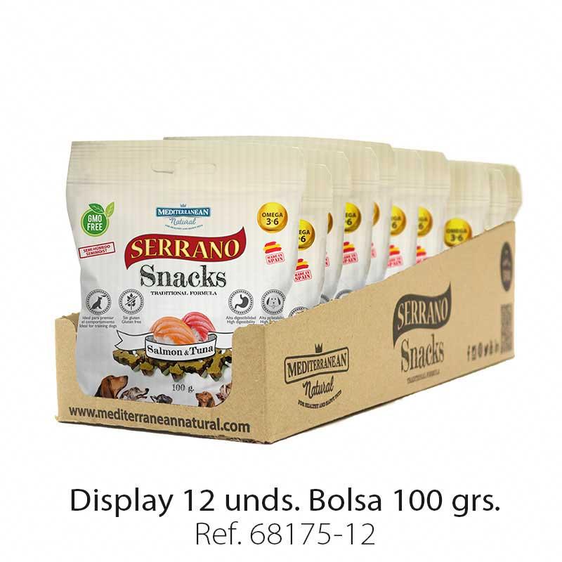Display 12 bolsas Serrano Snacks salmón y atún para perros Mediterranean Natural