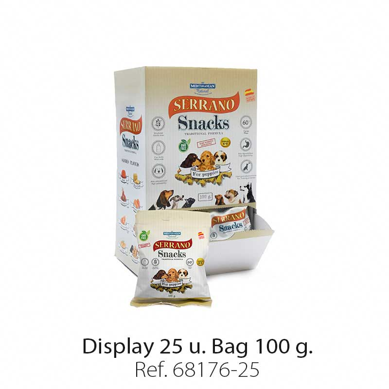 Display 25 bags Serrano Snacks Mediterranean Natural for puppies