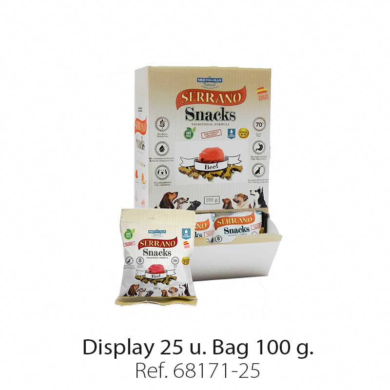 Display 25 bags Serrano Snacks beef Mediterranean Natural for dogs