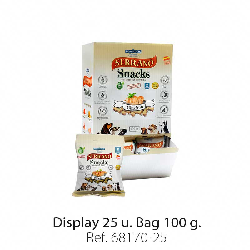 Display 25 bags Serrano Snacks chicken Mediterranean Natural for dogs