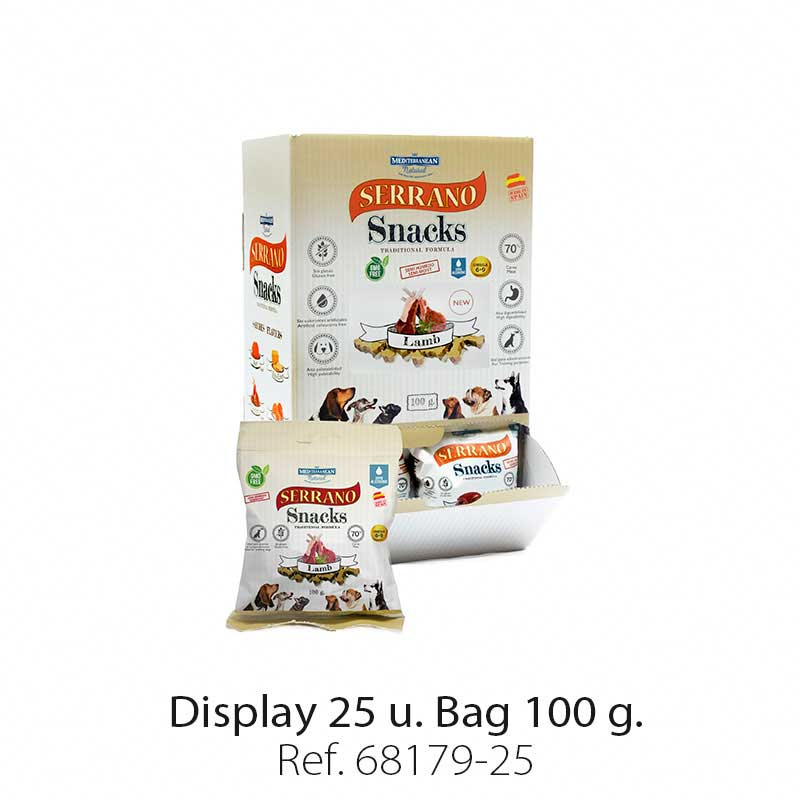Display 25 bags Serrano Snacks lamb Mediterranean Natural for dogs