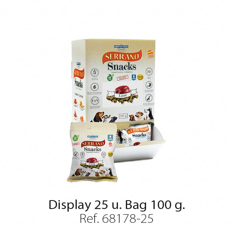 Display 25 bags Serrano Snacks liver Mediterranean Natural for dogs