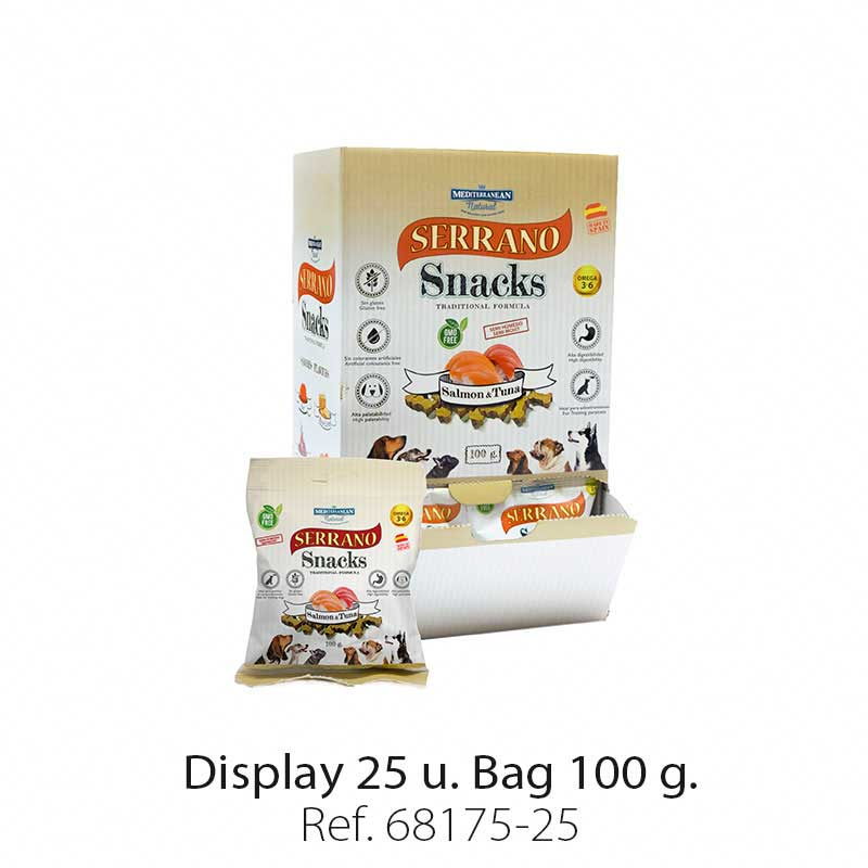 Display 25 bags Serrano Snacks salmon and tuna Mediterranean Natural for dogs