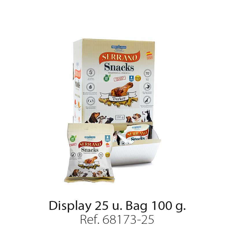 Display 25 bags Serrano Snacks turkey Mediterranean Natural for dogs